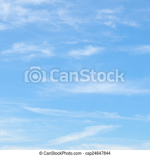 藍色的天空, 絨毛狀, 云霧 - csp24647844