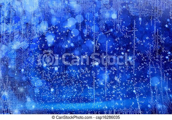 藍色的燈, 藝術, 聖誕節, 背景 - csp16286035