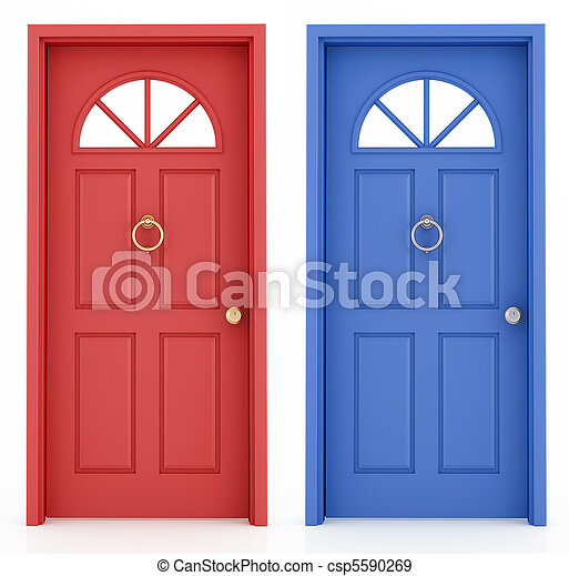 藍色, 入口, 門, 紅色 - csp5590269