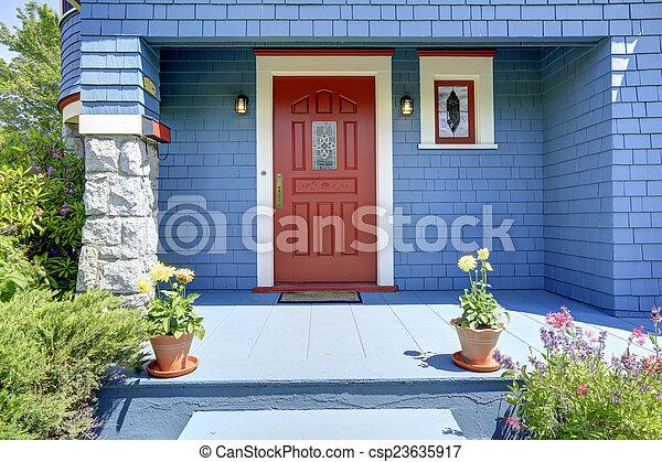 藍色, 入口, door., 紅色, 門廊 - csp23635917