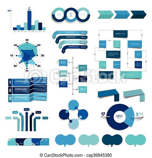 藍色, 圖表, flowcharts., 彙整, color., 圖, infographics - csp36845380