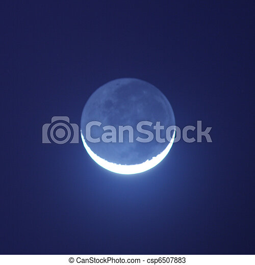 藍色, 夜晚, 發光, 月亮 - csp6507883
