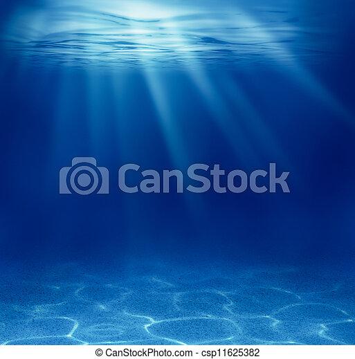 藍色, 水下, 看見, 深, 背景 - csp11625382