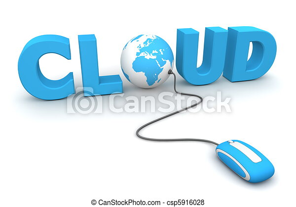 藍色, 瀏覽, 全球, -, 老鼠, 雲 - csp5916028