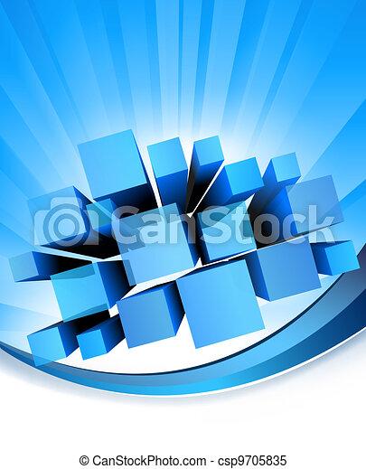 藍色, 矢量, 背景。, 摘要 - csp9705835