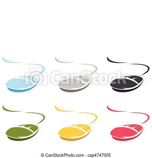 藍色, 電腦, colour., 插圖, 矢量, 老鼠 - csp4747005