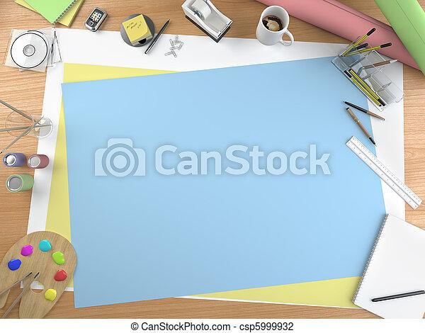 藝術家, 模仿空間, 桌面 - csp5999932
