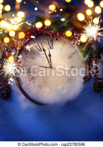 藝術, 午夜, 前夕, 年, 新, 聖誕節 - csp23780596