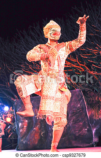 """藝術, """"khon"""", 跳舞, 跳舞, 叫, 具有歷史意義, high-class - csp9327679"""