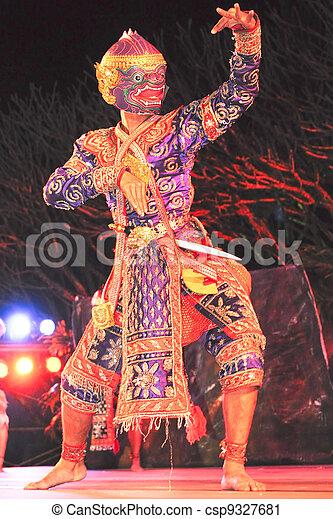 """藝術, """"khon"""", 跳舞, 跳舞, 叫, 具有歷史意義, high-class - csp9327681"""