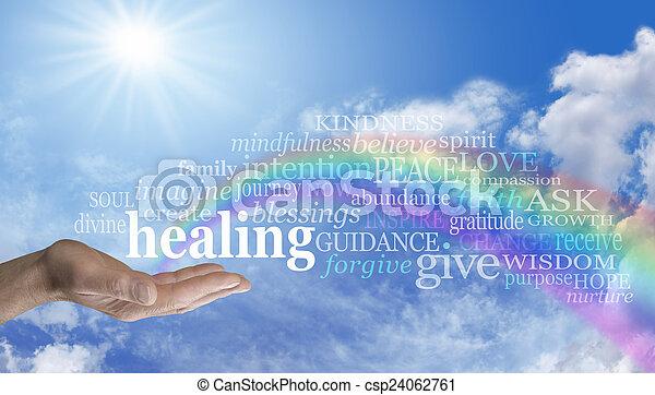 虹, 単語, 空, 治癒, 雲 - csp24062761
