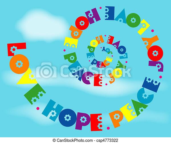 虹, 愛, 喜び, 平和, らせん状に動きなさい, 希望 - csp4773322