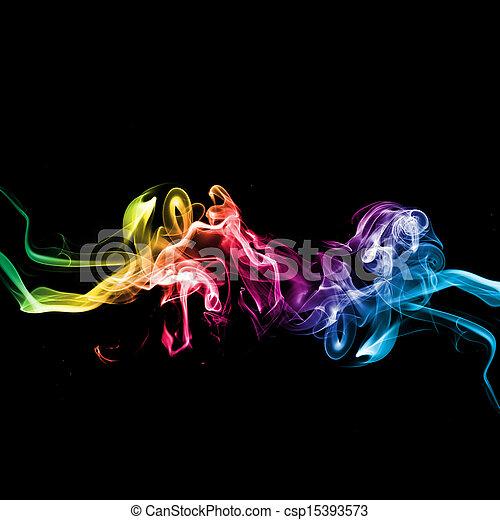 虹, 黒煙, 背景 - csp15393573