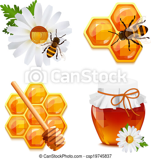 蜂蜜, セット, アイコン - csp19745837