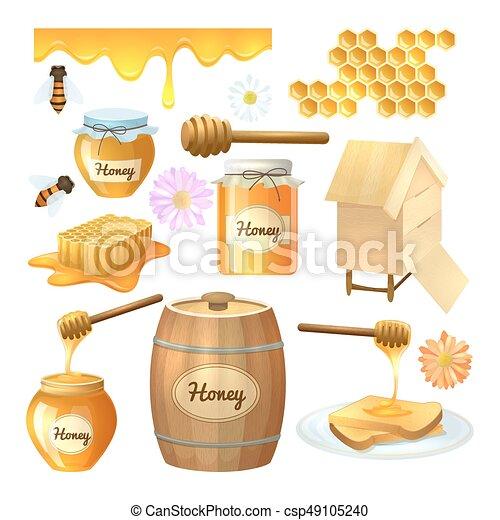 蜂蜜 セット イラスト セット 有機体である カラフルである 自然