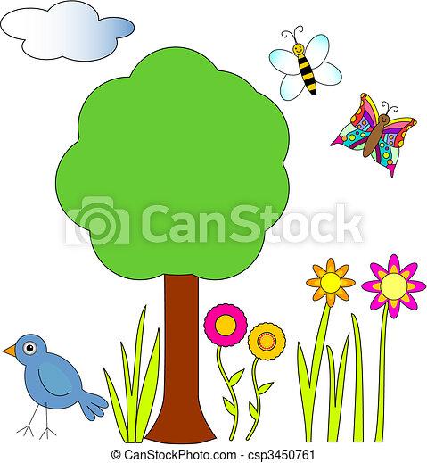 蜜峰, 鸟, 蝴蝶, 花, 树 - csp3450761
