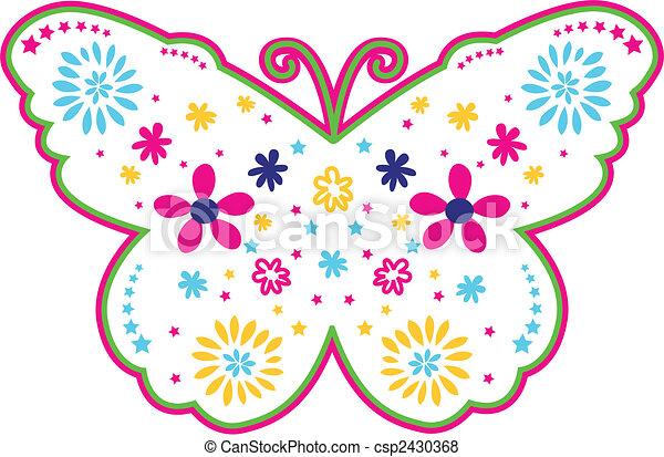 蝴蝶, 可愛, 花, 插圖 - csp2430368