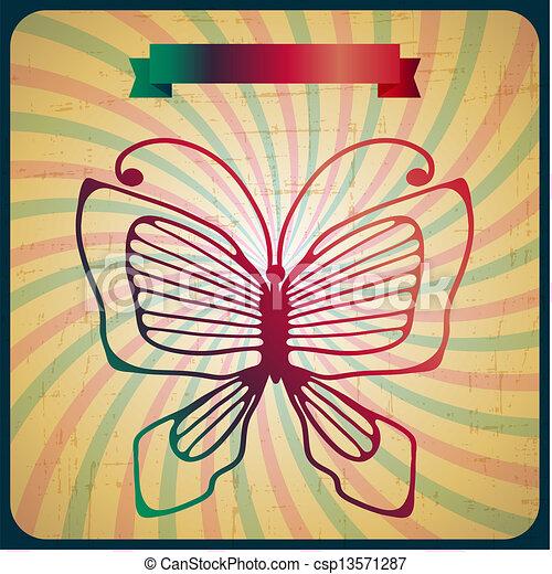 蝴蝶, 老, 海報, 背景。, retro, scrach - csp13571287
