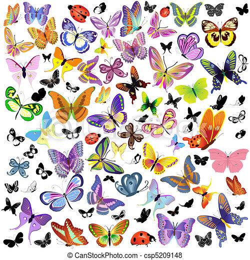 蝶, てんとう虫, セット - csp5209148