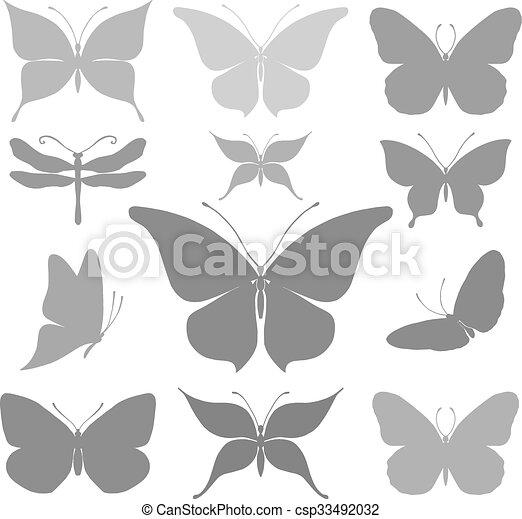 蝶, グラフィック, シルエット - csp33492032
