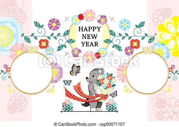 蝶, 花束, 犬, 年の, 年, 新しい, カード, 幸せ - csp50071107