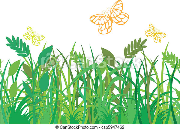 蝶, 草, 緑 - csp5947462