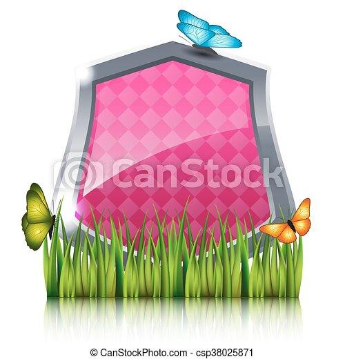 蝶, grass., 飛行, 保護, 赤 - csp38025871