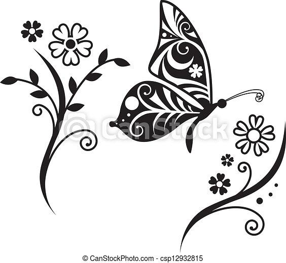 蝶, inwrought, 花, シルエット, ブランチ - csp12932815