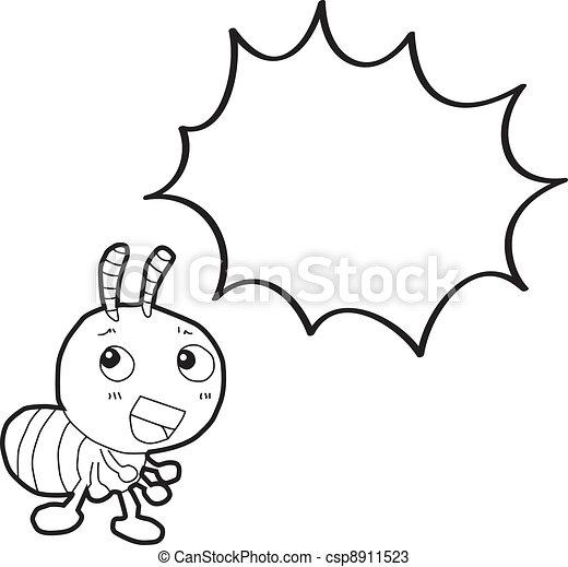 蟻, 泡, スピーチ, 漫画 - csp8911523