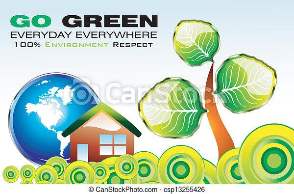 行きなさい, 環境, 緑, カード - csp13255426