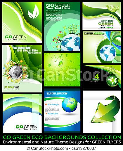 行きなさい, eco, 緑, コレクション, 背景 - csp13278087