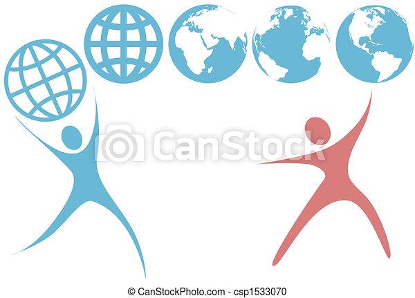 行星, 人們, 全球, 向上, 符號, swoosh, 地球, 握住 - csp1533070