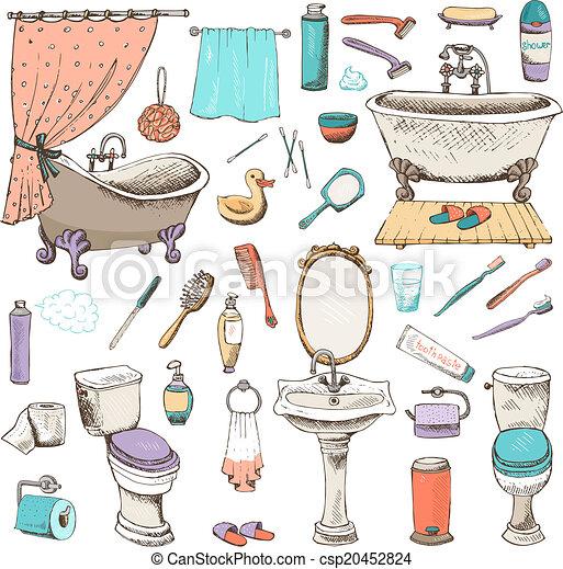 衛生, セット, 個人的, 浴室, アイコン - csp20452824