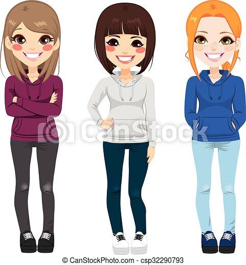 衣装, 女の子, ティーネージャー, 偶然 - csp32290793