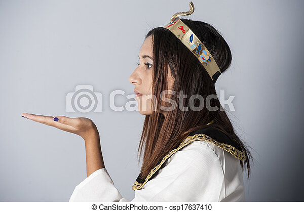 衣類, 女の子, ポーズを取る, 若い, エジプト人 - csp17637410
