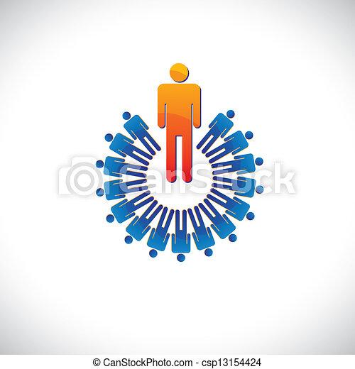 表す, グラフィック, のように, カラフルである, また, 抽象的, イラスト, 雇用者, ∥など∥, マネージャー, followers., 従業員, 概念, リーダー, 労働者 - csp13154424