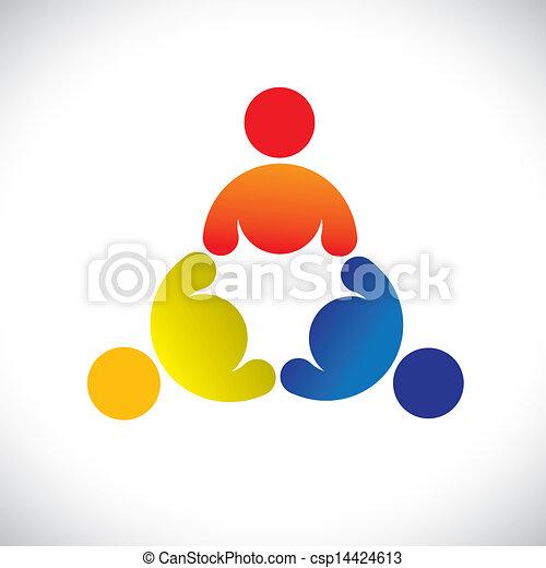 表す, 概念, のように, カラフルである, &, graphic-, 多様性, 共有, 労働者, イラスト, 共用体, 子供, icons(signs)., ベクトル, 概念, 三人組, 友情, 遊び, 遊び - csp14424613