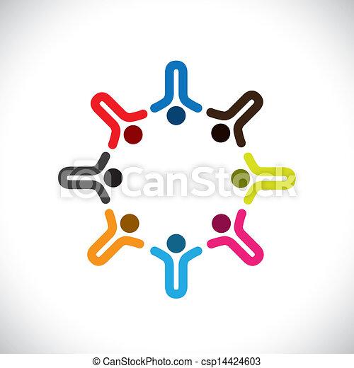 表す, 概念, のように, カラフルである, &, graphic-, 抽象的, 共有, 労働者, イラスト, 共用体, icons(signs)., ベクトル, 概念, 幸せ, 遊び, 友情, 子供, 多様性 - csp14424603