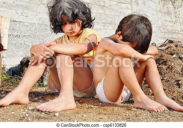 表現, 窮乏, poorness, 子供 - csp6133826