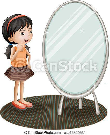 表面仕上げ, 女の子, 鏡 - csp15320581