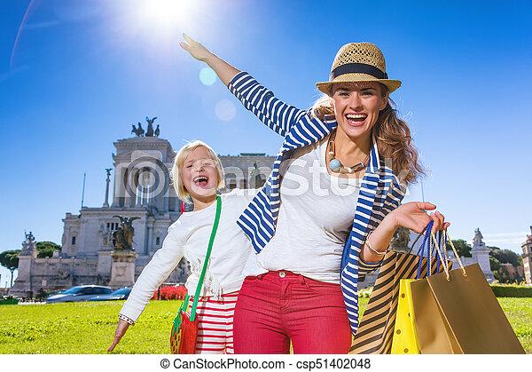 袋子, 购物, 时间, 旅游者, 妈妈, 乐趣, 女儿, 有 - csp51402048