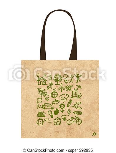 袋, アイコン, 生態学的, ペーパー, 緑, デザイン - csp11392935