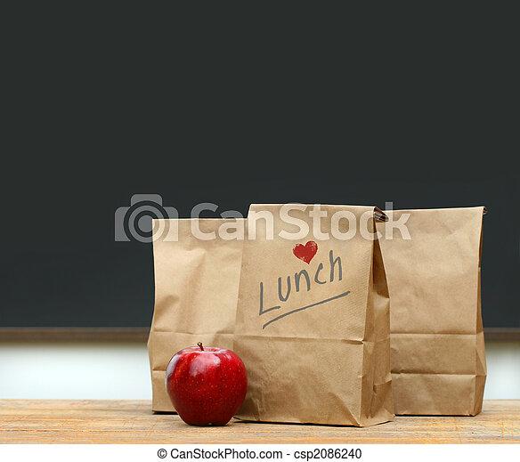 袋, 学校机, アップル, 昼食 - csp2086240