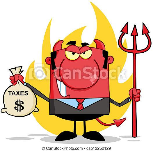 袋, 微笑, 悪魔, 保有物, 税 - csp13252129