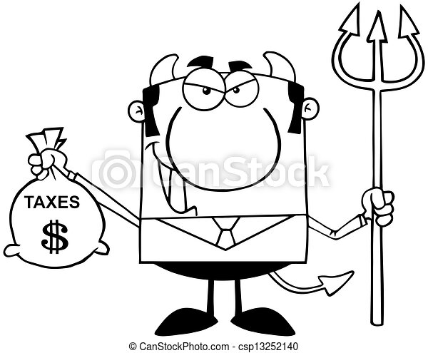 袋, 概説された, 悪魔, 保有物, 税 - csp13252140