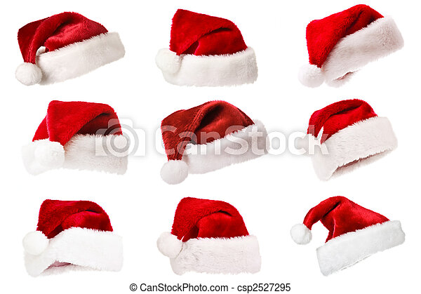 被隔离, 聖誕老人, 集合, 帽子, 白色 - csp2527295