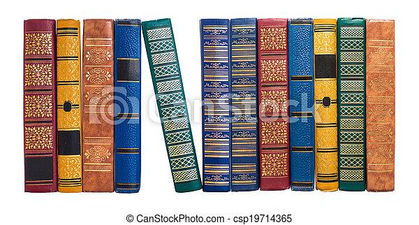 被隔离, 脊椎, 書, 書架, 白色, 或者, 行 - csp19714365