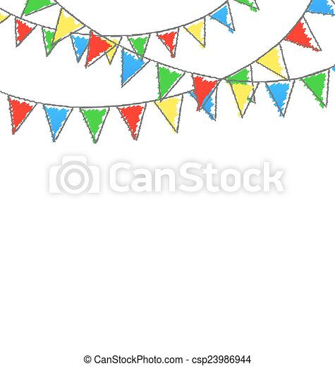 被隔离, whi, buntings, 多种顏色, 明亮, 花環, hand-drawn - csp23986944