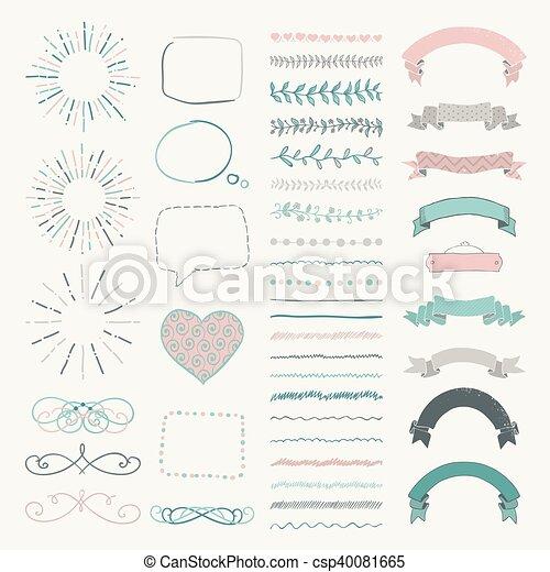 装飾用である, セット, 手, ベクトル, デザイン, 引かれる, 要素 - csp40081665