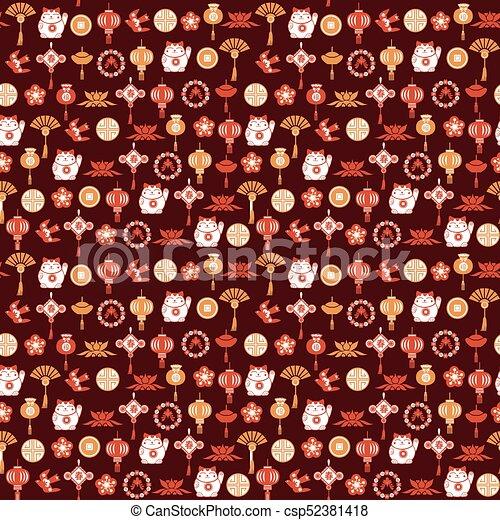 装飾用である, 中国語, パターン, シンボル, アジア人, 背景 - csp52381418